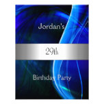 Blue Swirl Silver 29th Birthday Party Personalised Invitation