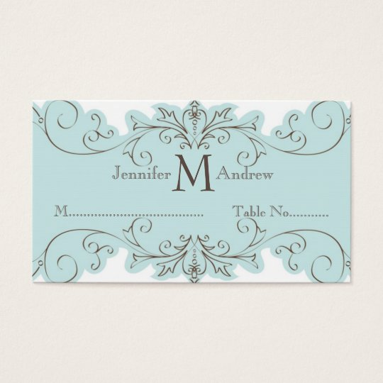 Blue Swirl Wedding Table Escort Cards