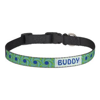 Blue Swirling Dots (Choose Background Color) Pet Collar