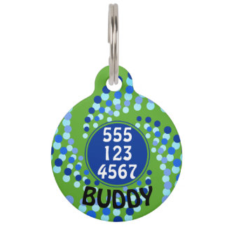 Blue Swirling Dots (Choose Background Color) Pet ID Tag