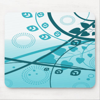 Blue Swirling Vines Mouse Pad