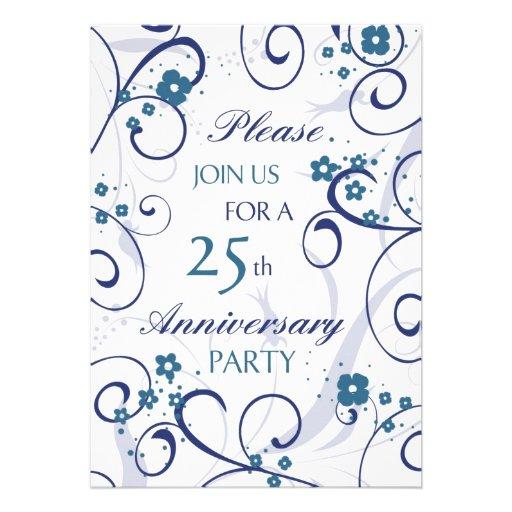 Blue Swirls 25th Anniversary Party Invitation Card