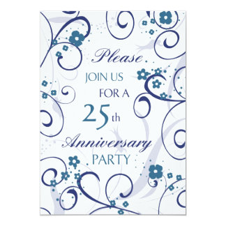 Blue Swirls 25th Anniversary Party Invitation Card