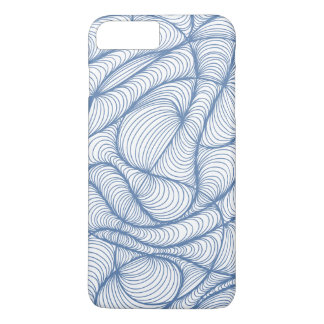 Blue swirls and curls abstract pattern iPhone 7 plus case
