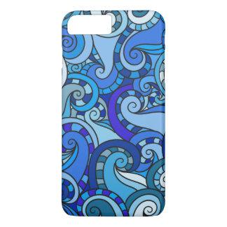 Blue swirls and curls illustration iPhone 7 plus case