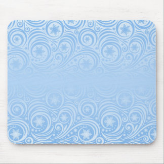 Blue Swirls and Stars Winter Christmas Holiday Mouse Pad