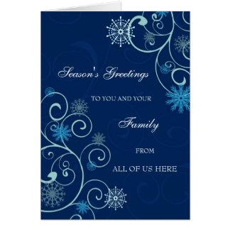 Blue Swirls Business Season's Greetings Card