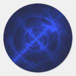 Blue Swirls fractal design Round Sticker