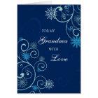 Blue Swirls Grandma Merry Christmas Card