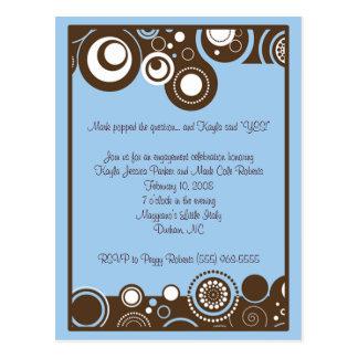Blue Swirls Invitation Postcard