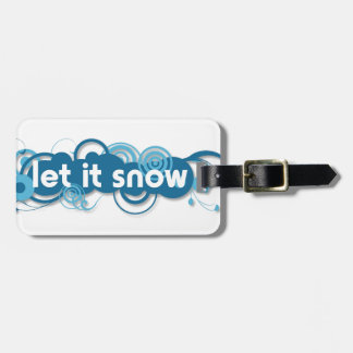 Blue swirls Let it Snow Luggage Tag