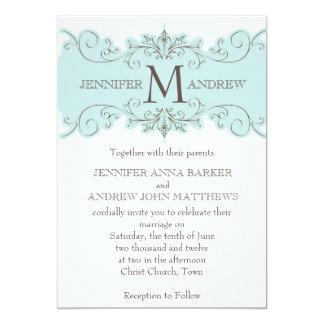 Blue Swirls Monogram Wedding Invitations