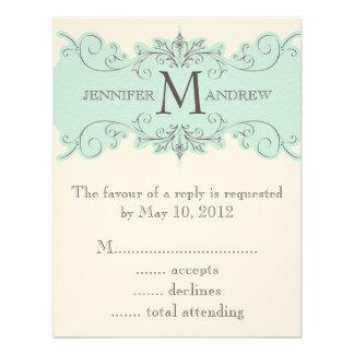 Blue Swirls Monogram Wedding RSVP Cards Cream Personalized Invitation