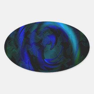 Blue swirls oval sticker