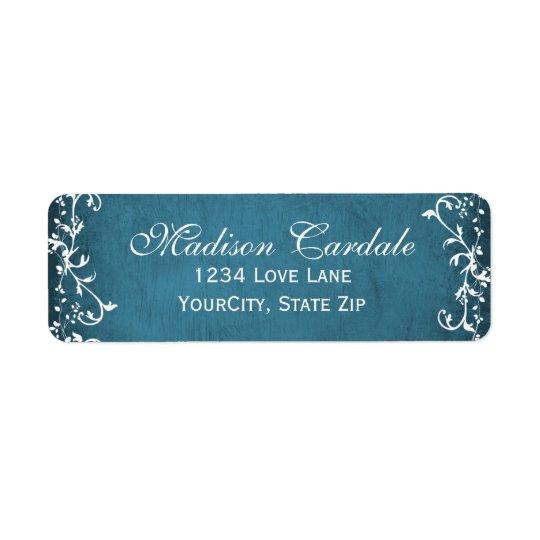 Blue Swirls Rustic Vines Return Address Labels