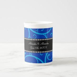 Blue swirls wedding favors bone china mugs