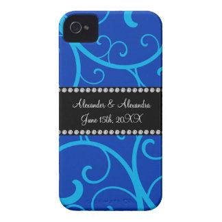 Blue swirls wedding favors iPhone 4 cover