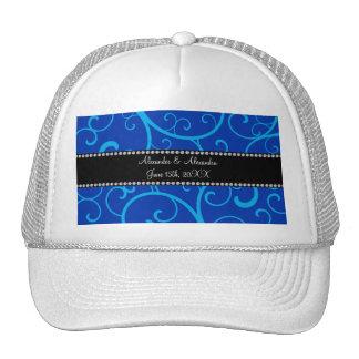 Blue swirls wedding favors hat