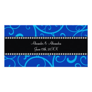 Blue swirls wedding favors personalized photo card