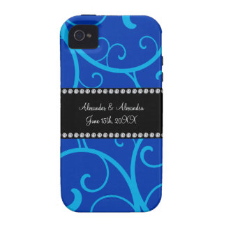 Blue swirls wedding favors vibe iPhone 4 case