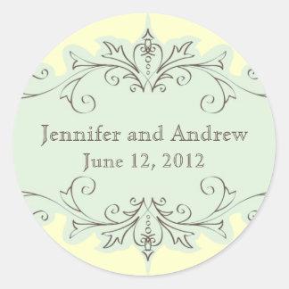 Blue Swirls Wedding Favour Stickers Cream