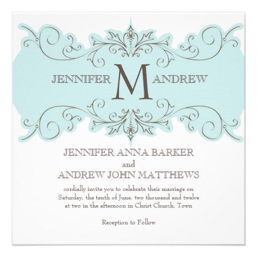 Blue Swirls Wedding Invitation with Monogram