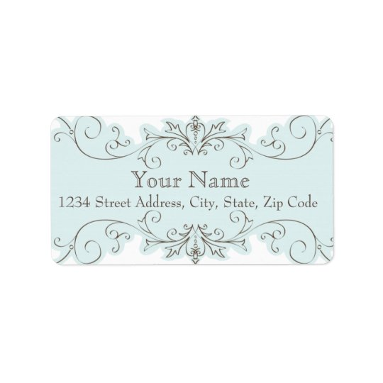 Blue Swirls Wedding RSVP Return Address Labels