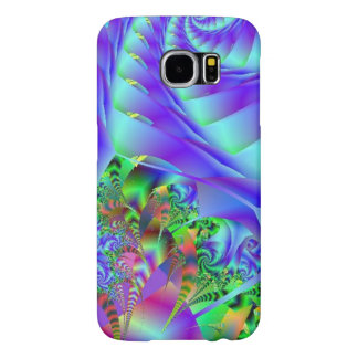 Blue Swirls With Colorful Floral Abstract Samsung Galaxy S6 Cases