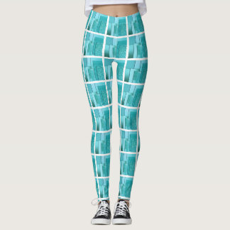 BLUE SYMMETRICAL DESIGN LEGGINGS