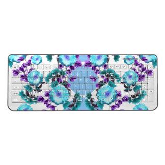 Blue Symmetrical Floral Print by Zala Farah Wireless Keyboard