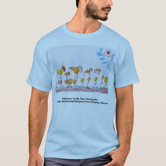 "BLUE T-SHIRT ""Chickens"" (PICTURE IN FRONT)"