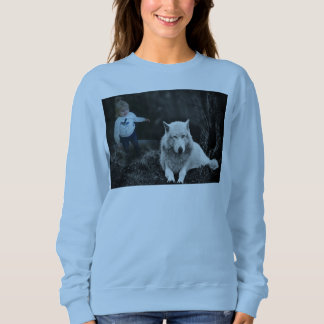 Blue t-shirt with girl i wolf