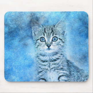 Blue Tabby Kitten | Abstract | Watercolor Mouse Mat