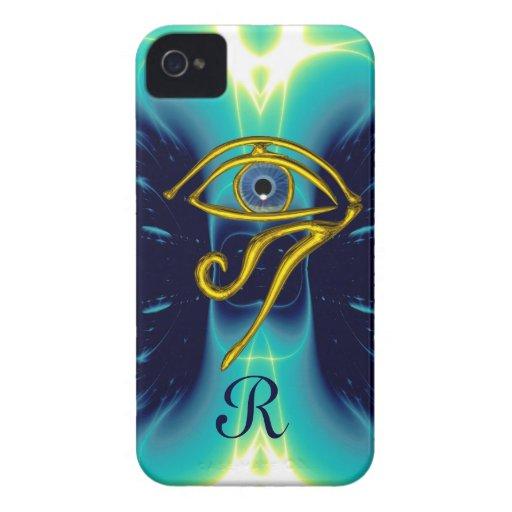 BLUE TALISMAN MONOGRAM  Teal, Turquase White iPhone 4 Cases