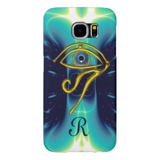 BLUE TALISMAN MONOGRAM  Teal, Turquoise White Samsung Galaxy S6 Cases