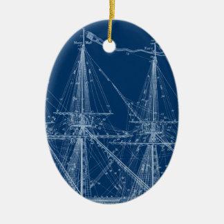 Blue Tall Sailing Ship Blueprint Ceramic Oval Decoration
