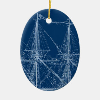 Blue Tall Sailing Ship Blueprint Christmas Ornament