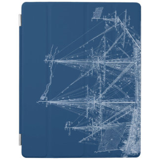 Blue Tall Sailing Ship Blueprint Cover iPad Cover