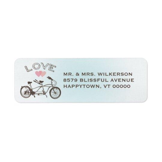 Blue Tandem Bicycle Love Label Return Address Label