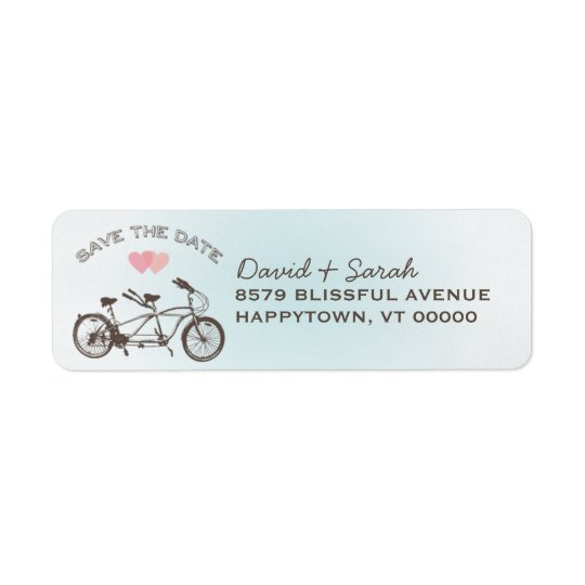 Blue Tandem Bicycle Save The Date  Label