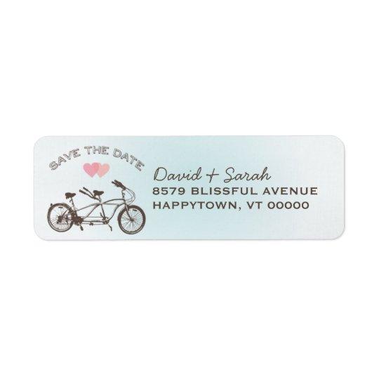 Blue Tandem Bicycle Save The Date  Label Return Address Label
