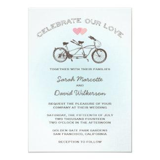 Blue Tandem Bicycle Wedding 13 Cm X 18 Cm Invitation Card