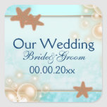 Blue tangerine wedding engagement favours square stickers