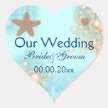 Blue tangerine wedding engagement seals heart sticker