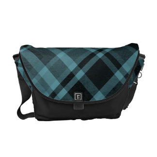 Blue Tartan Gingham Designer Bag Shoulder Strap Commuter Bag