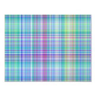 blue tartan pattern 11 cm x 14 cm invitation card