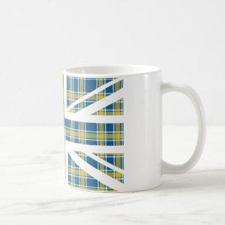 Blue Tartan Pattern Union Jack British(UK) Flag Basic White Mug