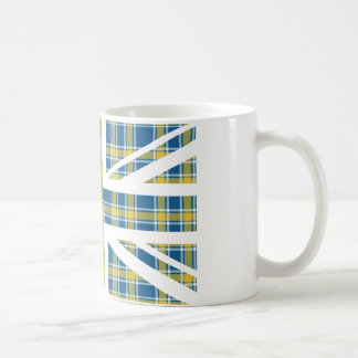 Blue Tartan Pattern Union Jack British(UK) Flag Coffee Mug