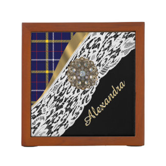 Blue tartan plaid pattern and white lace desk organiser