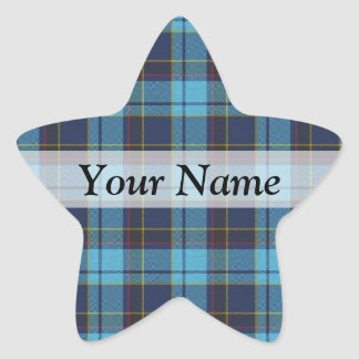 Blue tartan plaid star sticker